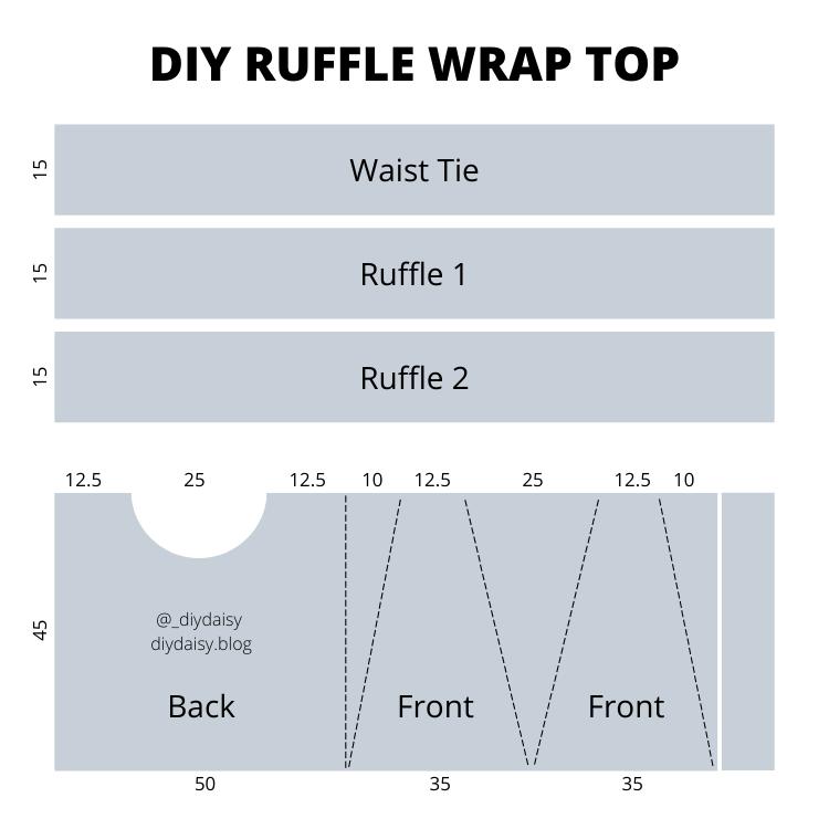 DIY Daisy Ruffle Wrap Top Measurements